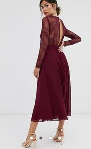 ASOS | Long Sleeve Lace Paneled Pleat Midi Dress/0